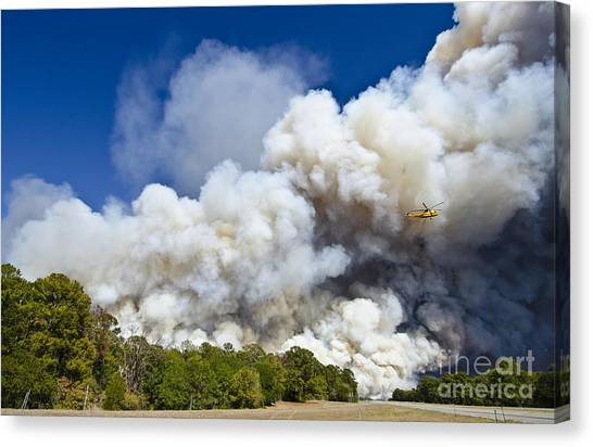 Bastrop Burning Helicopter Canvas Print