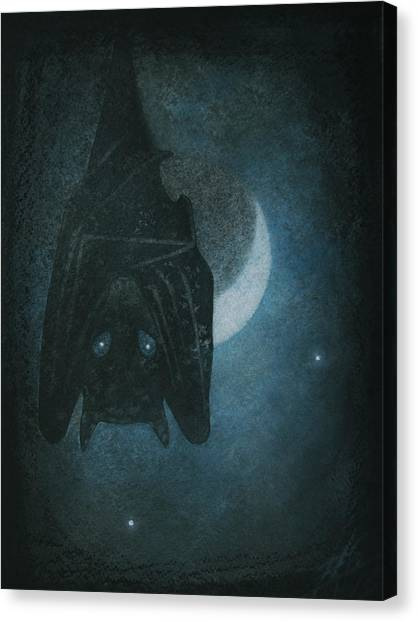 Bat With Crescent Moon Canvas Print