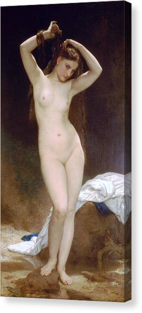 Erotic Framed Canvas Print - Bather by William-Adolphe Bouguereau