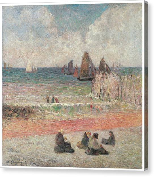 Bathers At Dieppe Canvas Print by Paul Gauguin