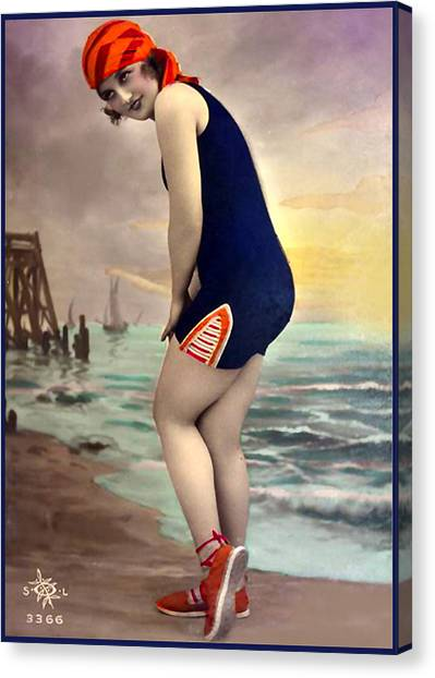 Bathing Beauty In Orange And Navy Bathing Suit Canvas Print