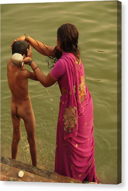 Jenny Lake Canvas Print - Bathing In The Holi Lake. Indian Collection by Jenny Rainbow
