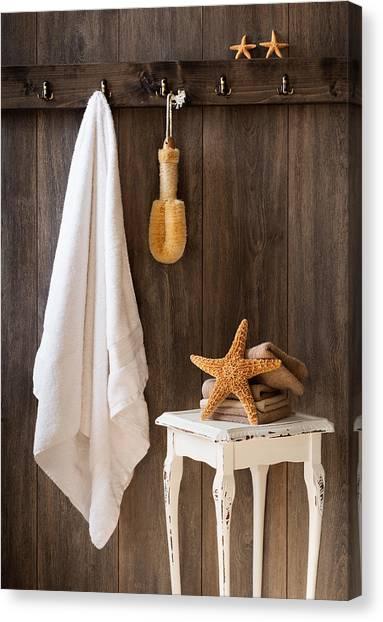 Flannel Canvas Print - Bathroom by Amanda Elwell