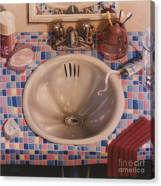 Floss Canvas Print - Bathroom Sink 1991  Skewed Perspective Series 1991 - 2000 by Lawrence Preston