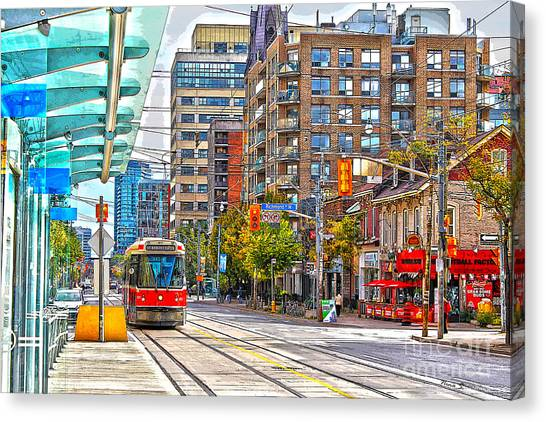 Toronto Fc Canvas Print - Bathurst Street Car Coming North To Queen Street by Nina Silver