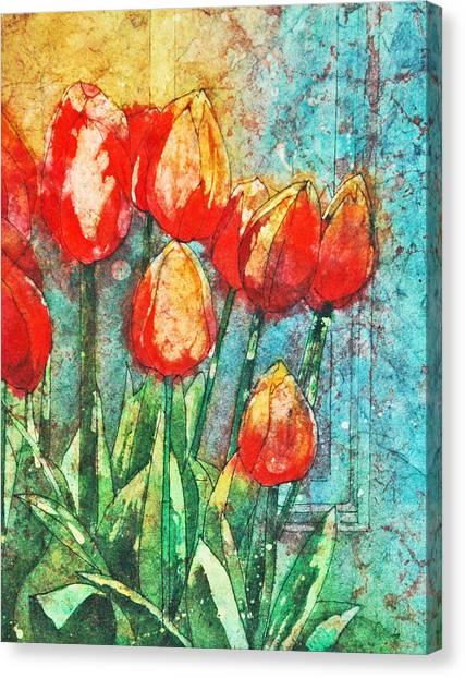 Batik Tulips Canvas Print
