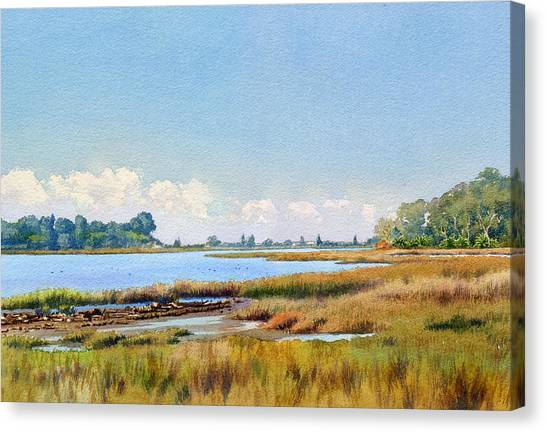 Marshes Canvas Print - Batiquitos Lagoon Marshland by Mary Helmreich