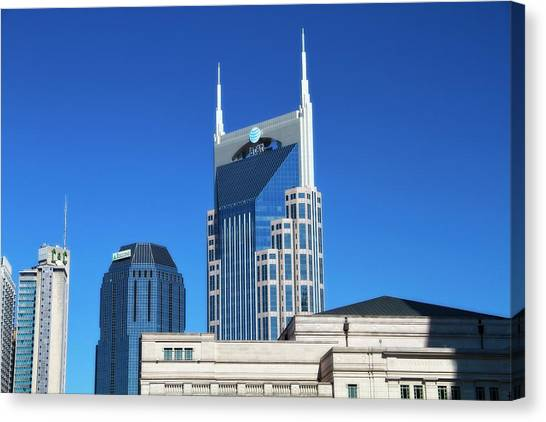 Nashville Skyline Canvas Print - Batman Building And Nashville Skyline by Dan Sproul