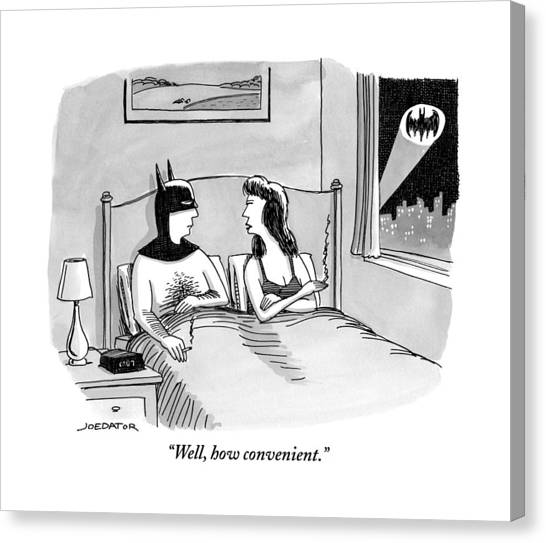 Batman In Bed With Woman After Having Sex Canvas Print
