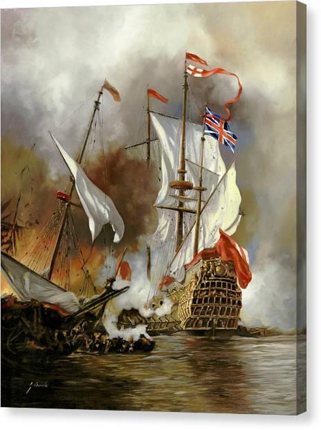 Battle Canvas Print - Battaglia Sul Mare by Guido Borelli
