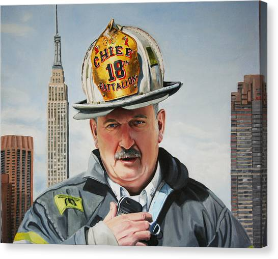 Nyfd Canvas Print - Battalion Commander Chief Salka by Paul Walsh