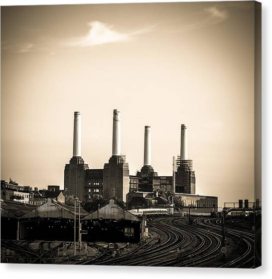 Battersea Power Station With Train Tracks Canvas Print