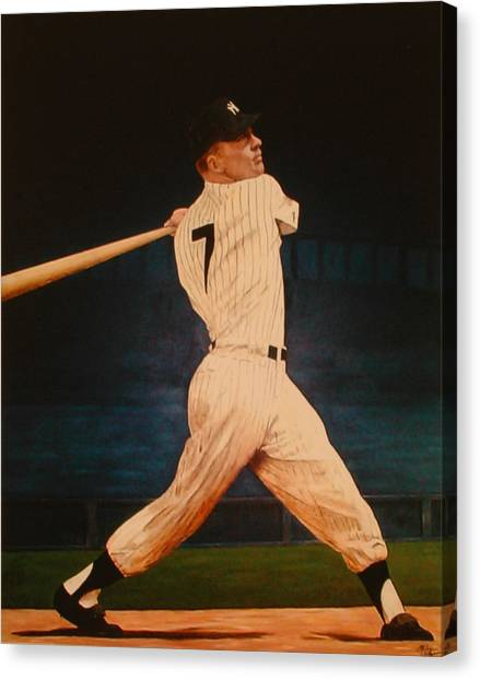 Batting Practice - Mickey Mantle Canvas Print