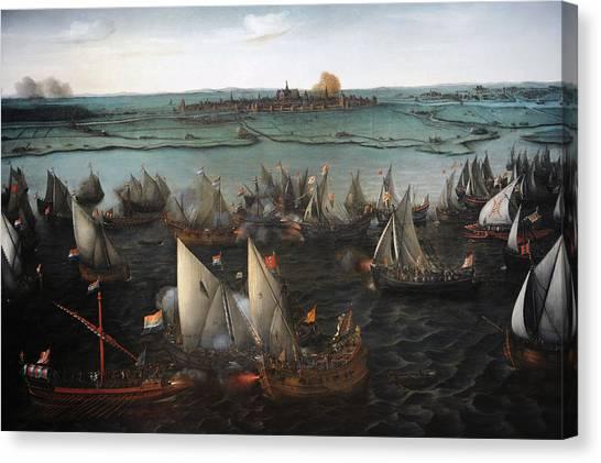 Rijksmuseum Canvas Print - Battle Between Dutch And Spanish Ships On The Haarlemmermeer, 1629, By Hendrik Cornelisz Vroom by Bridgeman Images