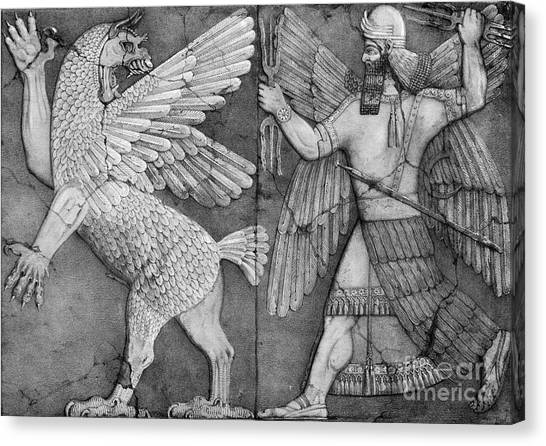 Notable Canvas Print - Battle Between Marduk And Zu by Photo Researchers