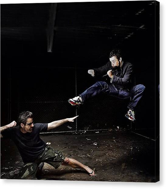 Fighting Canvas Print - #battle #kick #punch #fight #floating by Sammy Evans