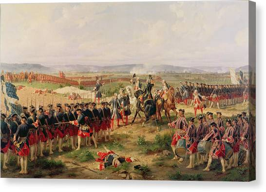 Swallow Canvas Print - Battle Of Fontenoy, 11 May 1745 The French And Allies Confronting Each Other by Felix Philippoteaux