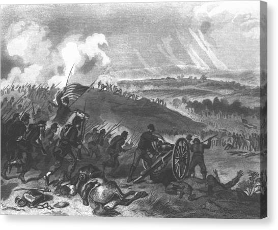 Army Of The Potomac Canvas Print - Battle Of Gettysburg - Final Charge Of The Union Forces At Cemetery Hill, 1863 Pub. 1865 Engraving by American School