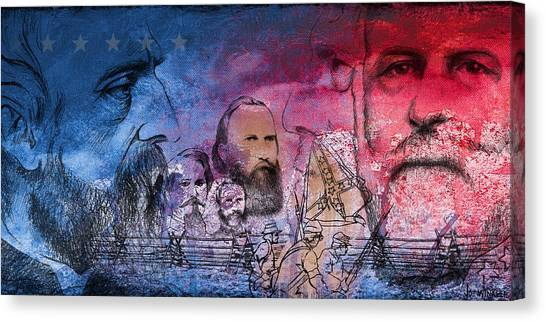 Canvas Print featuring the painting Battle Of Gettysburg Tribute Day One by Joe Winkler