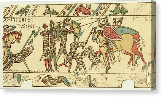 Battle Of Hastings The Battle Rages Canvas Print by Mary Evans Picture Library