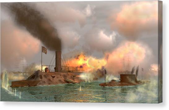 Battle Of The Ironclads Canvas Print