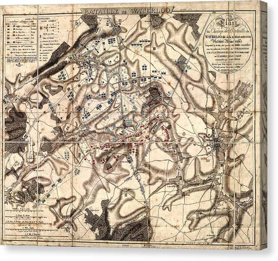 Battle Of Waterloo Old Map Canvas Print