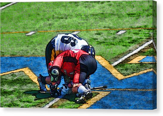 Battling For The Ball Canvas Print by Joe Bledsoe
