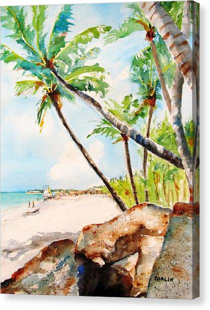Islands Canvas Print - Bavaro Tropical Sandy Beach by Carlin Blahnik CarlinArtWatercolor