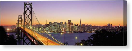 Night Lights Canvas Print - Bay Bridge At Night, San Francisco by Panoramic Images