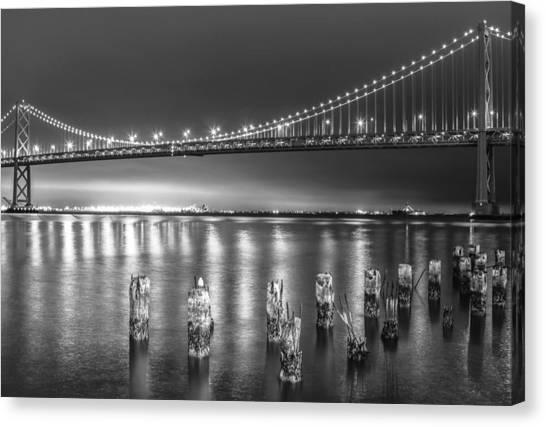 Bay Bridge Black And White Canvas Print