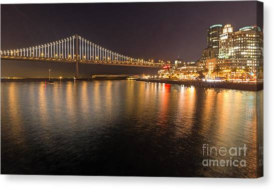 Canvas Print featuring the photograph Bay Bridge Lights And City by Kate Brown
