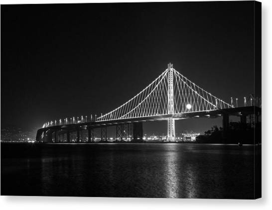 Bay Bridge Moon Canvas Print