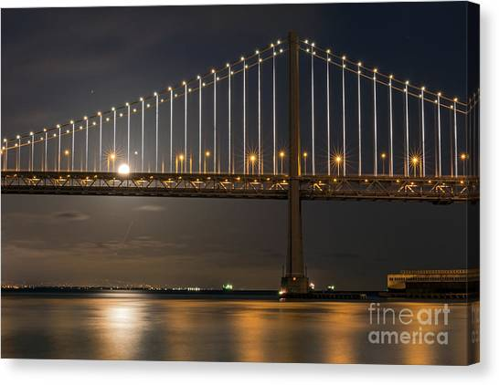 Canvas Print featuring the photograph Bay Bridge Moon Rising by Kate Brown