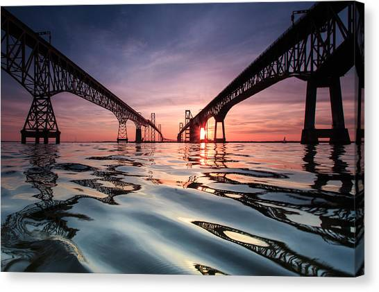 Sunsets Canvas Print - Bay Bridge Reflections by Jennifer Casey