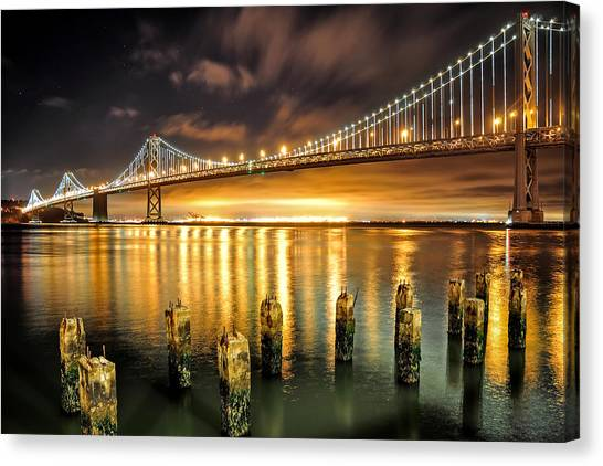 Bay Lights And Decaying Pylons Canvas Print