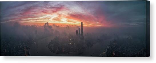 Shanghai Skyline Canvas Print - Bay Of Colour by Stan Huang