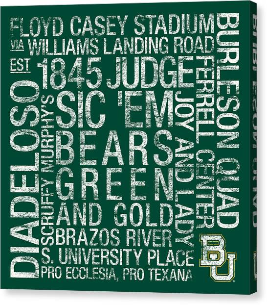 Baylor College Colors Subway Art Canvas Print by Replay Photos
