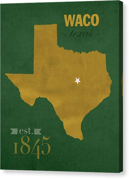 Baylor University Canvas Print - Baylor University Bears Waco Texas College Town State Map Poster Series No 018 by Design Turnpike