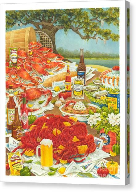 Smokehouses Canvas Print - Bayou Banquet II by Joyce Hensley
