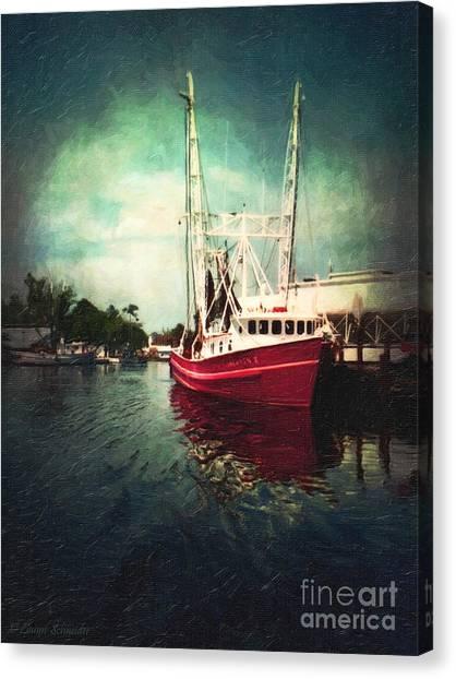 Shrimping Canvas Print - Bayou Labatre by Lianne Schneider