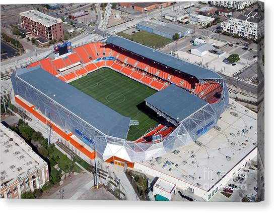 Houston Dynamo Canvas Print - Bbva Compass Stadium In Houston by Bill Cobb