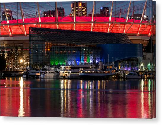 Vancouver Whitecaps Fc Canvas Print - Bc Place In Christmas Colours by Sabine Edrissi