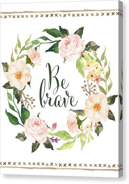 Succulent Canvas Print - Be Brave Wreath by Tara Moss