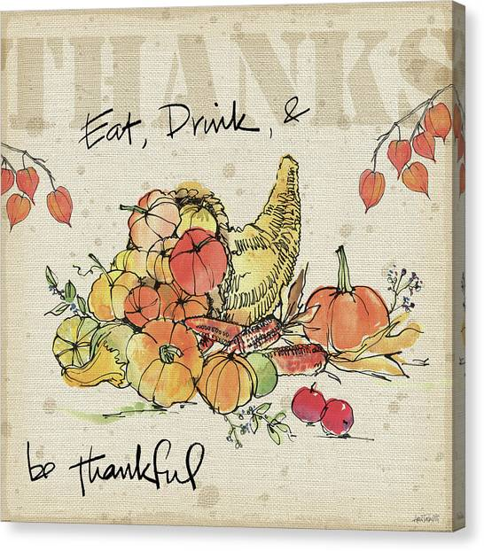 Thanksgiving Canvas Print - Be Thankful IIi by Anne Tavoletti