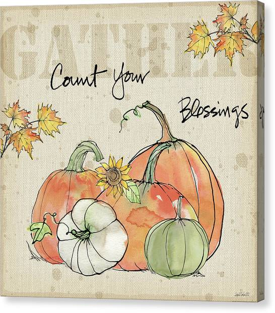 Thanksgiving Canvas Print - Be Thankful Iv by Anne Tavoletti