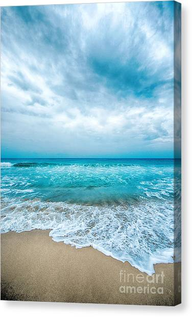 Canvas Print featuring the photograph Beach And Waves by Yew Kwang
