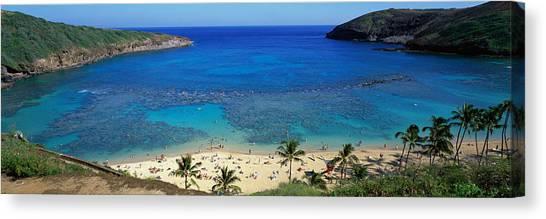 Beach Resort Vacation Canvas Print - Beach At Hanauma Bay Oahu Hawaii Usa by Panoramic Images