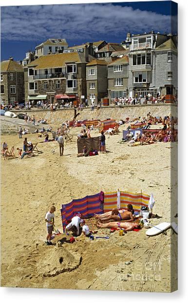 Beach At St Ives Cornwall Uk 1990 Canvas Print by David Davies