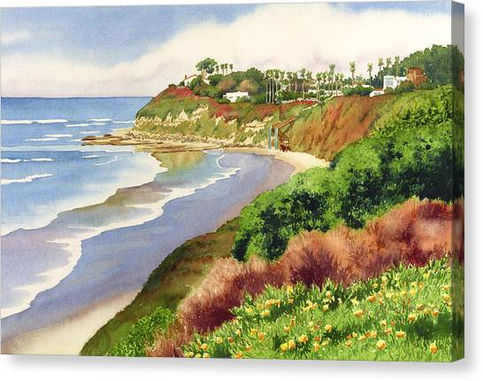 Beach At Swami's Encinitas Canvas Print by Mary Helmreich