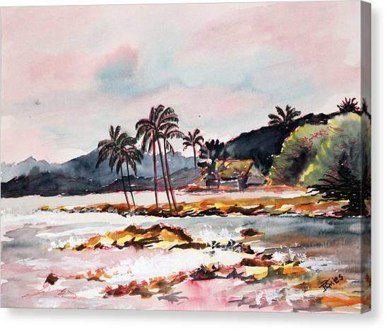 Beach At Waikiki Canvas Print